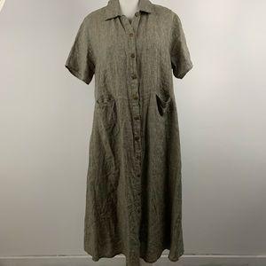 Flax brown 100% linen button down dress